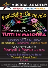 Tuesday, March 4th at 21:00 CARNIVAL at MUSICAL ACADEMY PERUGIA!